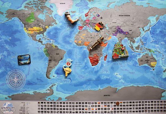 regalos viajeros. mapamundi rascable